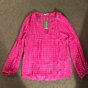 NWT Lilly Pulitzer Silk Crinkle Top